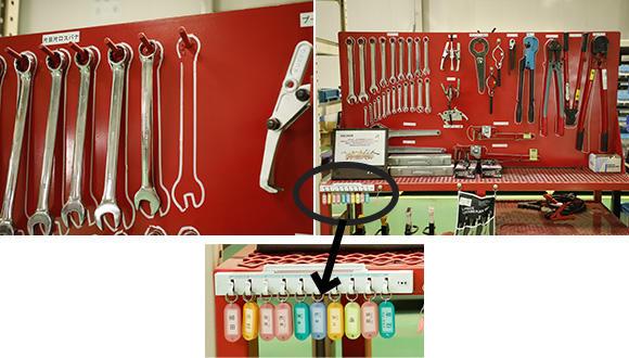 工具を使う場合は、持ち出す工具の代わりに自分の氏名が記された名札を掛けておく