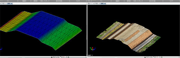 出来形測量の3次元データ(右)と設計データ(左)。この二つを重ね合わせ比較する