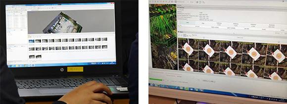 ドローンで撮影した写真を、解析ソフトに読み込ませる。