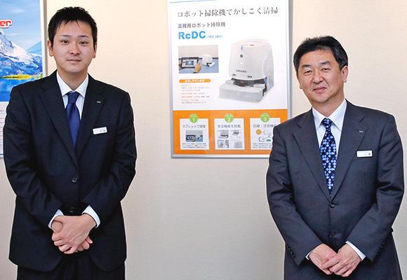 左)新規事業開発部 辻尾晃一 右)新規事業開発部ロボット事業推進課 課長 上瀧博伸