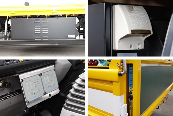 左上:荷台左下に設置されたインバーター。右上:インバーターの左右にAC100Vのコンセントが設けられている。左下:電力の管理は運転席付近に設けられたパネルで行う。右下:電光掲示板のON/OFFや文字&動画パターンの変更などは、後方アオリの左サイドに設けられたスイッチで操作。