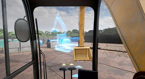 「Safety Training System VR of AKTIO」バックホー編は、バックホーの操作系を使って体験する。