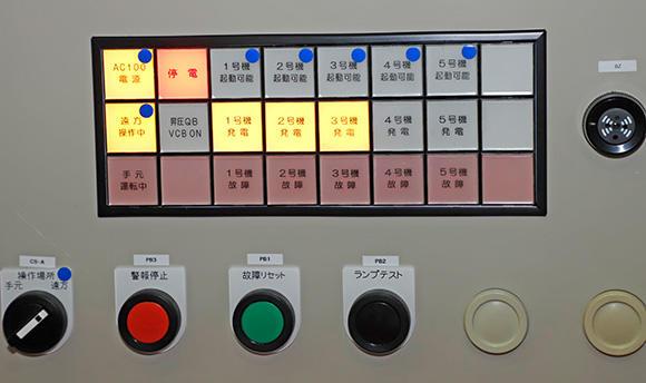 1台の発電機自動運転盤で、最大5台までの発電機を制御可能だ。