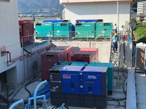 現場に配置されたアクティオの発電機