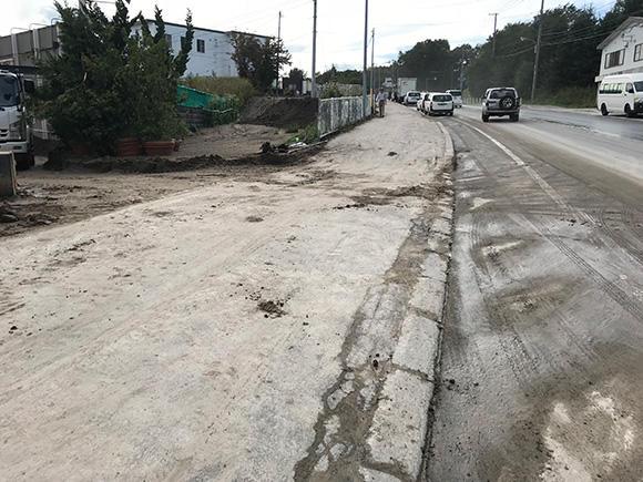 液状化によってゆがんだ道路。各地で土砂災害が起こっていた