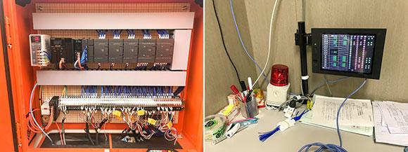 PLC(プログラマブル・ロジック・コントローラー)を使用し、流量計からのアナログ信号や起動盤・フロートスイッチからの各種接点信号を取り込み、流量の表示や警報の出力を行った。