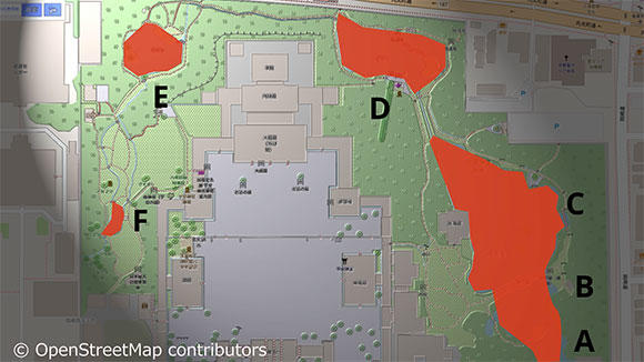 4つの池を、A~Fの6つの工区に区切って作業を行うことにした