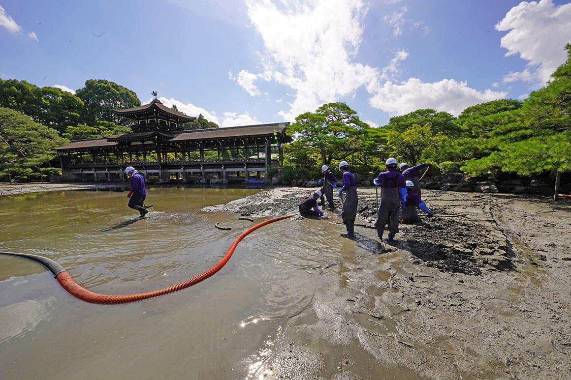 京都・名勝平安神宮神苑の池底を清掃。半年に及ぶ一大プロジェクト