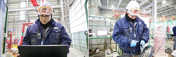 西日本水中ポンプ広域センター 業務 主査の酒井康貴。現場リーダーを務めており、実施計画書の作成や進捗確認、若手社員の指導やサポートも行っている。また、グループ会社である株式会社桜川ポンプ製作所のスタッフとともに、各工場の整備担当者、新人、事務員を対象とした勉強会を毎年実施。親睦やスキルアップに貢献している