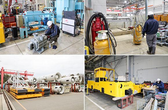 エンジニアリング事業部は他の部署に比べて、大型の機械を扱っている