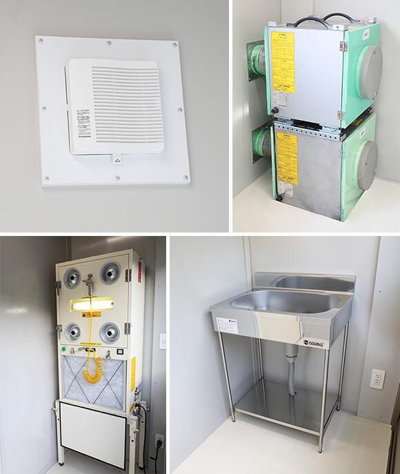 左上:給気口には逆流防止ダンパーが付いており、これをロックすることで空気の流れが外から内へのワンウェイになる。右上:抗ウイルスHEPAフィルター内蔵換気装置。仮設陰圧ハウスの仕様により、1基もしくは2基設置される。左下:オプションでエアシャワーを前室に設置。右下:オプションの洗面台。