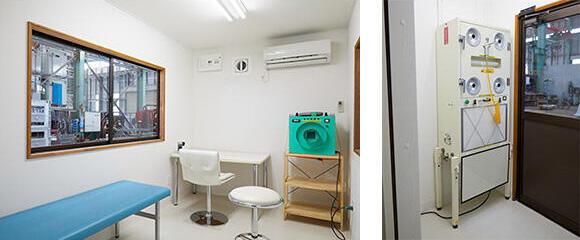 【左】ハウス室内 ※イメージ図 【右】エアーシャワー ※オプション