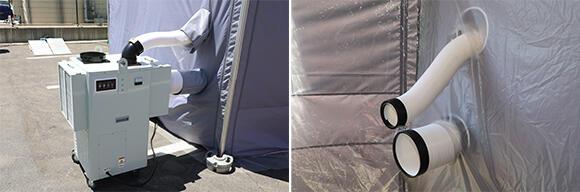 1.5馬力/循環型の移動式クーラー。冷えた室内の空気を吸い込むため冷却効果が高い。