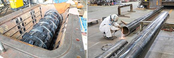 左:トンネルのシールド工事に必要なアクティオローリングブレーカー(ARB)。掘削した際に出た岩が大きいままだと、水と混ぜて地上に圧送する配管に通らないため、ARBの超高合金の回転歯で小さく砕いてから圧送する。右:圧送する配管の径や長さは現場によって異なるため、仕様に合わせたワンオフ(専用品)が基本だ