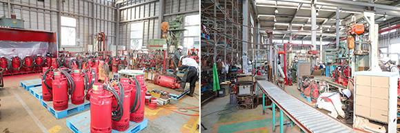 水中ポンプは大型班(左)と小型班(右)に分かれて作業を行っている。大型班はひとり1基仕上げる方式だが、小型班は50年前に構築した旧江戸川工場の流れ作業方式を受け継ぎ、進化させて現在に至る
