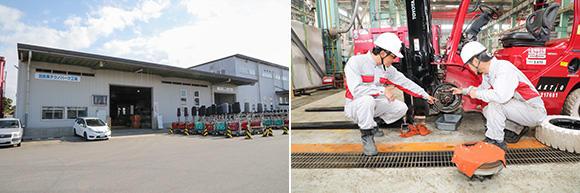 左:北関東支店テクノパーク工場の対応エリアは栃木、群馬、埼玉(一部)となり、汎用機の整備を行っている。右:産業設備部のフォークリフトも整備