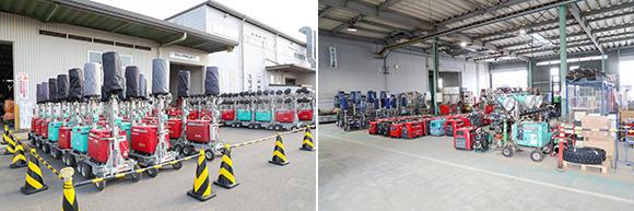 小型班はエンジン高圧洗浄機や溶接機、小型発電機、チェーンソー、草刈り機、電工ドラム(コードリール)など、扱う機械の種類が多い