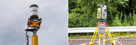 ブレードに取り付けられたアクティブターゲット(左)を、TS(右)のレンズ部分から発した光で自動追尾する
