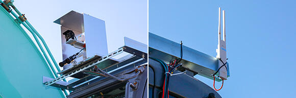 左:前後左右にカメラを設置し、その映像をオペレーターが操作する部屋のモニターに表示。右:無人バックホーから無線LAN中継器、その後は一部有線を介して無線LANルーターまで接続
