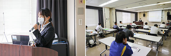 左:「ICT施工について」の講義を担当したICT施工推進課の山田圭織さん。右:同じカリキュラムの講習会が2日間にわたって開催され、参加者は両日合わせて40名ほど。九州全県から来場した