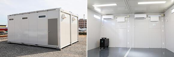 撮影したオフグリッドハウスは、4坪タイプを2連結している。エアコンは標準装備されている