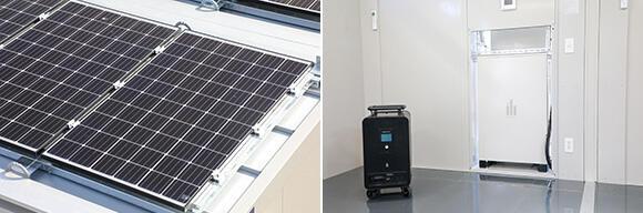 (左)屋根には公称最大出力310Wの太陽光パネルを5枚設置。(右)壁に埋め込まれているのが容量6.2kWhの蓄電池。その左に置いてあるのが、サブの独立した蓄電池(容量2.45kWh、出力1.0kW)
