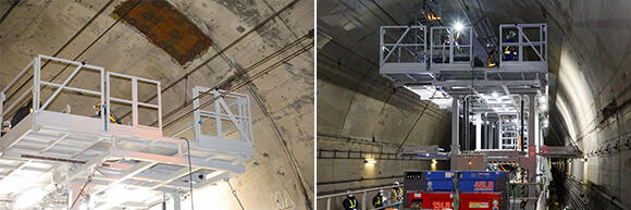 (左)上段ステージの手すりは、昇降した際に架線に干渉しないよう工夫されている。(右)中段ステージがトンネル側面ギリギリまで、せり出しているのがよく分かる