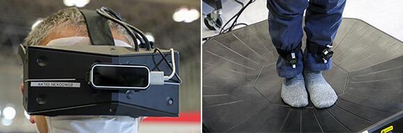 (左)VRヘッドマウントにより、高画質5K解像度のスーパーリアル映像が体験できる。(右)両足にセンサーを装着