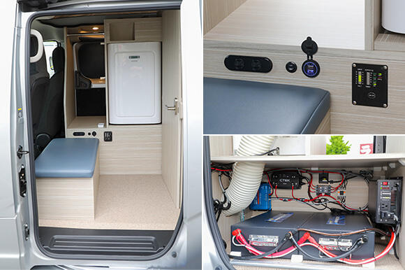 (左)事務スペース。正面に見える白い箱のようなものがエアコン。椅子の向かい側に跳ね上げ式のテーブルが付く予定。(右上)AC100VコンセントやUSBポートを装備。インバータースイッチもここに付いている。(右下)リチウムイオンバッテリーや走行充電装置などは、運転席後方のスペースに格納されている