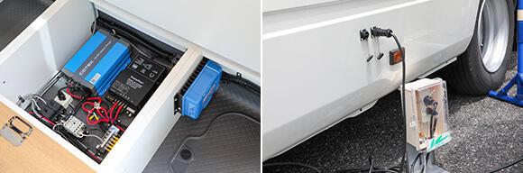 (左)直流(DC)を正弦波交流(AC)に変換するインバーター、走行充電装置などが備わる。リチウムイオンバッテリーは他の場所に設置されている。(右)太陽光パネルや走行による充電が間に合わない場合は、外部電源(発電機)による給電も可能