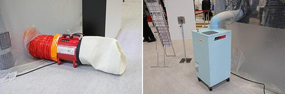 (左)吸い出された粉塵は、集塵機後方にセットされた粉塵袋に溜まる。(右)必要に応じてスポットクーラーの併用も可能。これなら熱中症対策も万全だ