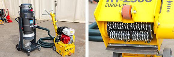 縦回転という動きがコンクリート切削機(RT-2500)ならでは。コーティング材等を素早く効率的に除去するのに大変有効な機材だ