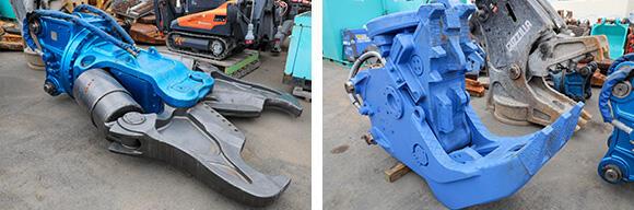 左が油圧圧砕機のSRC用大割、右はマグネット付きの小割