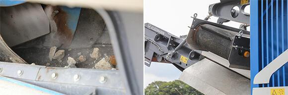 (左)噛み砕かれたガラは下に落ち、ベルトコンベアで上方に運ばれる。(右)このローラーの奥に鉄筋を振り分ける永久磁石が設置されている