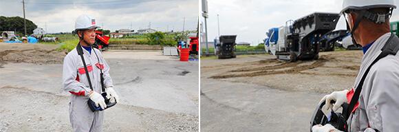 ジョークラッシャーの移動は、リモコンによって行う。操作は解体事業部 解体埼玉工場の遠藤茂吉業務主事にお願いした