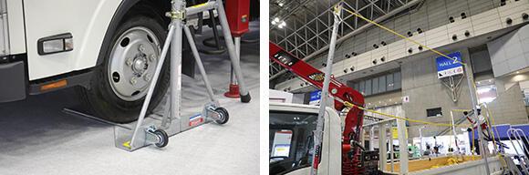 「タイヤ踏込式トラック支柱」は、あおりのないトラックでも使用できる。支柱の間隔は7.4m未満であればOKだ